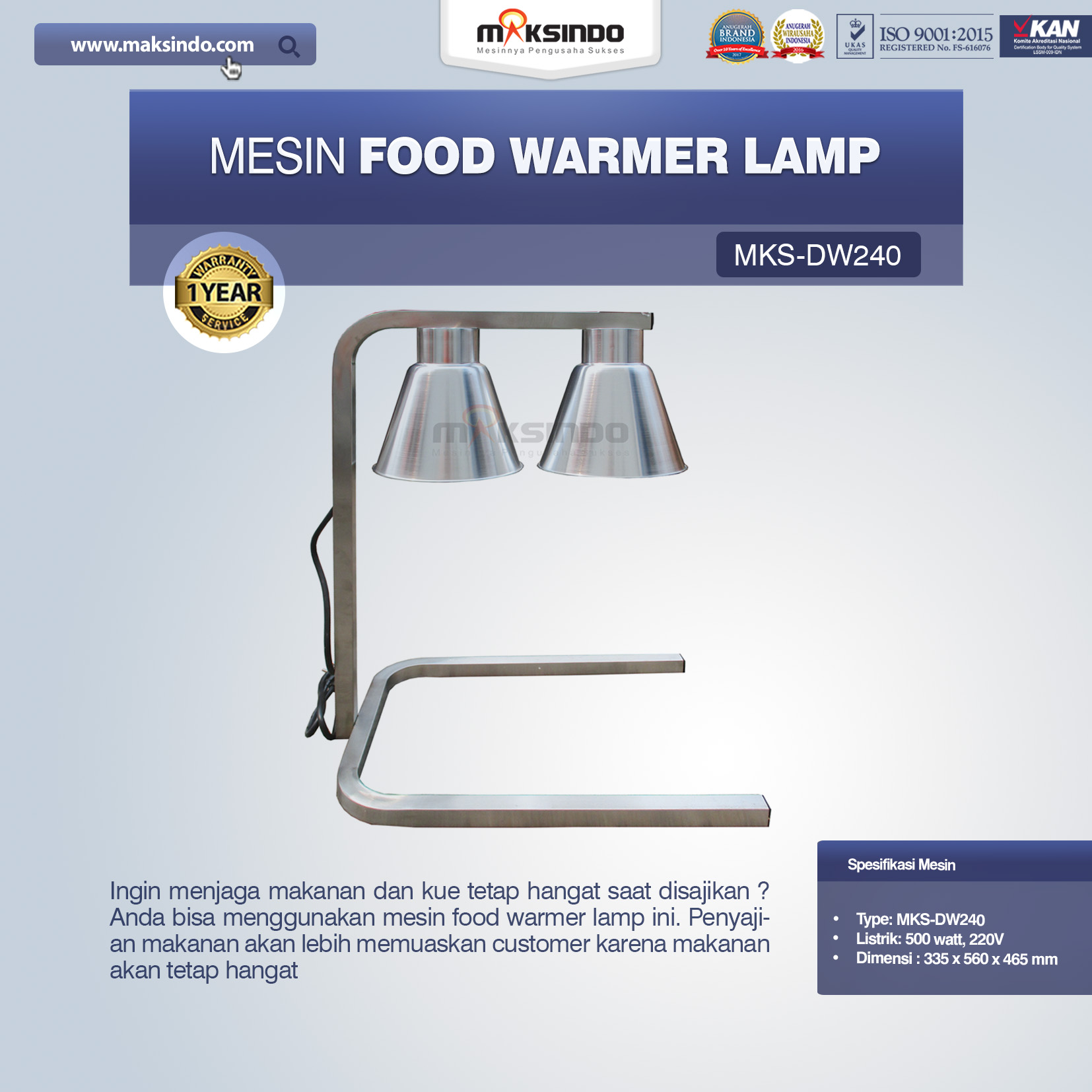 Jual Mesin Food Warmer Lamp MKS-DW240 di Malang
