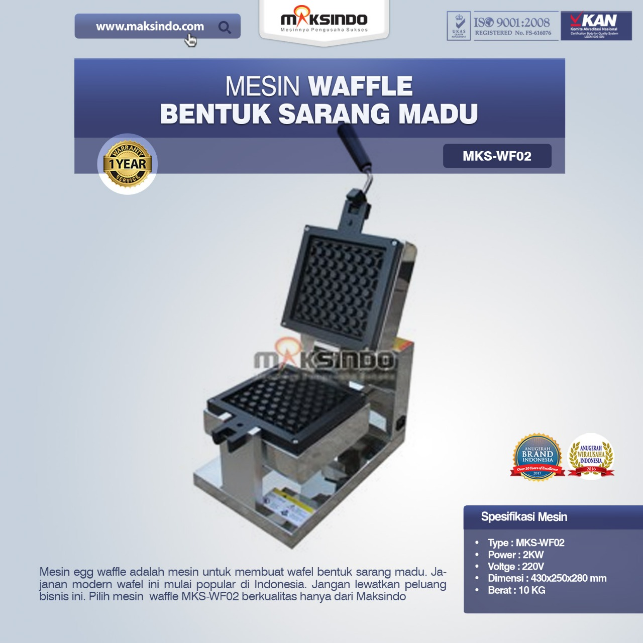 Jual Mesin Waffle Bentuk Sarang Madu MKS-WF02 di Malang