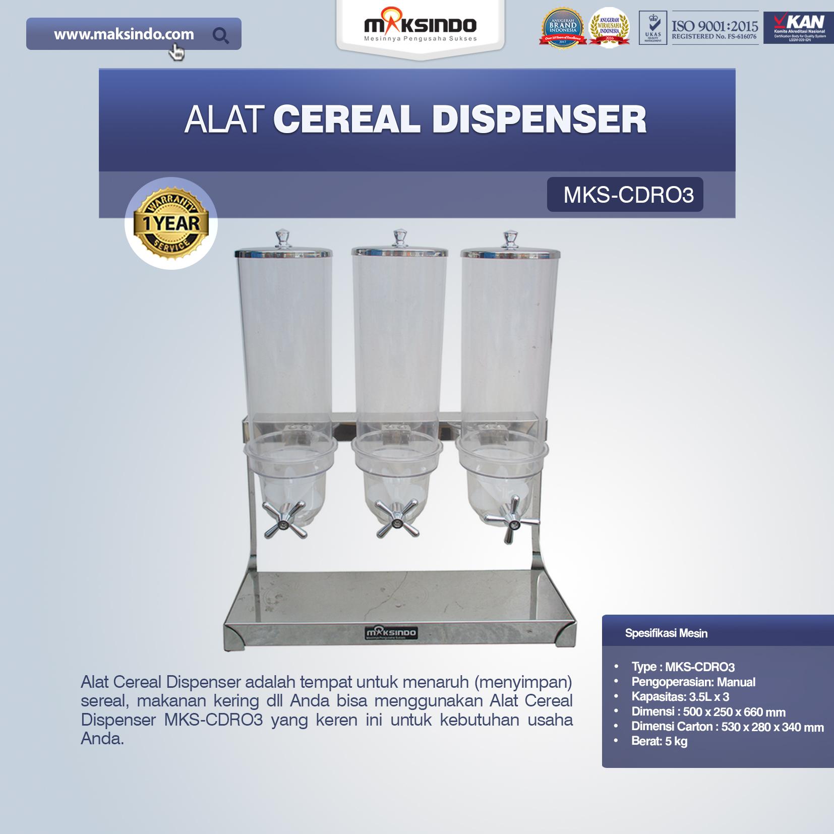 Jual Alat Cereal Dispenser MKS-CDR03 di Malang