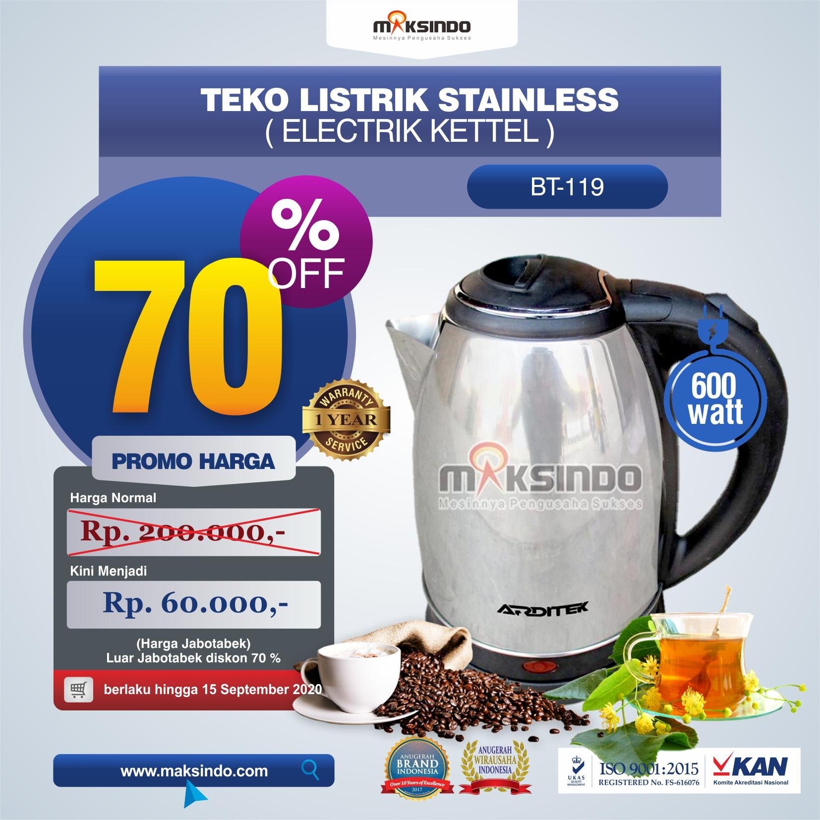 Jual Teko Listrik Stainless (Electrik Kettel) BT-119 di Malang