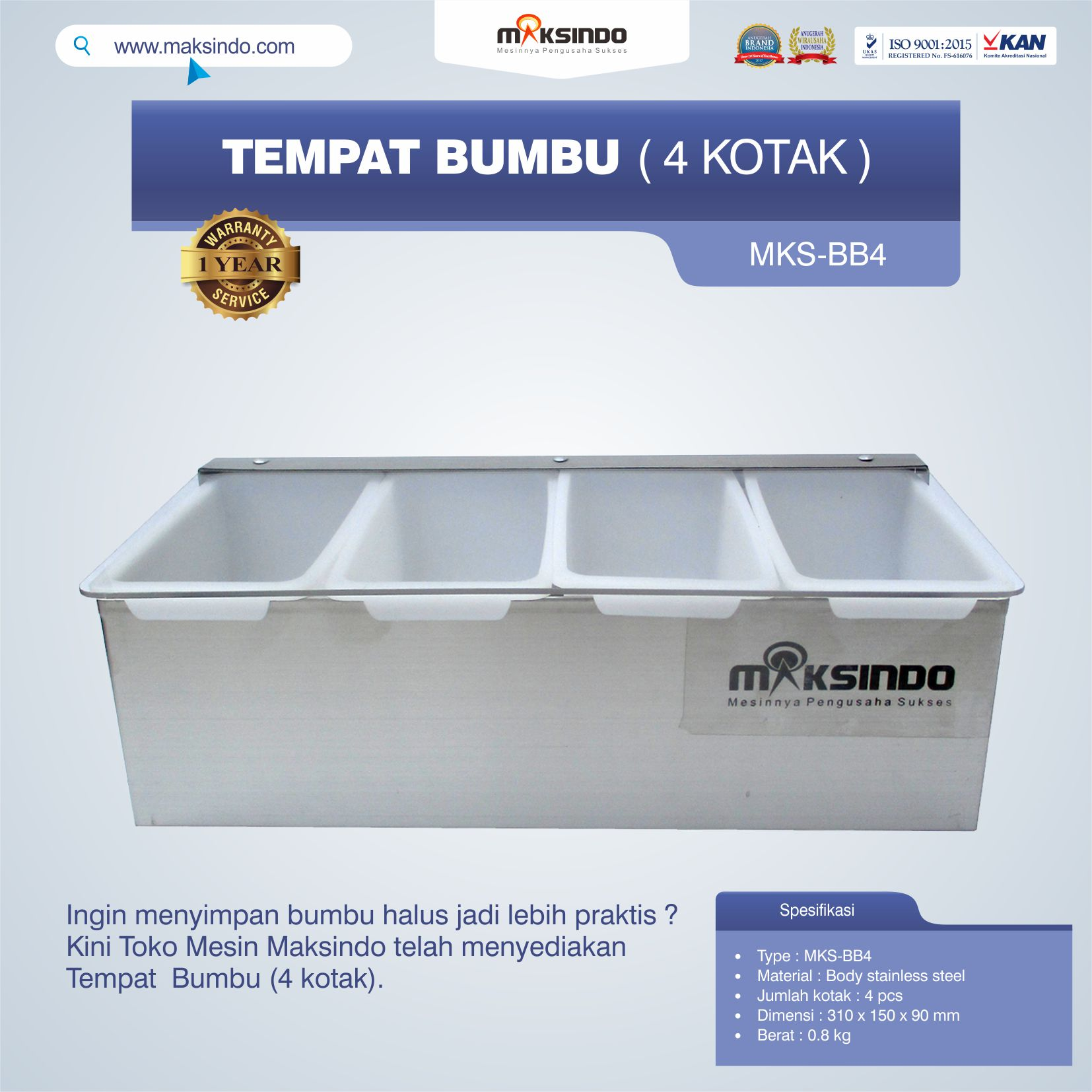 Jual Tempat Bumbu (4 kotak) di Malang