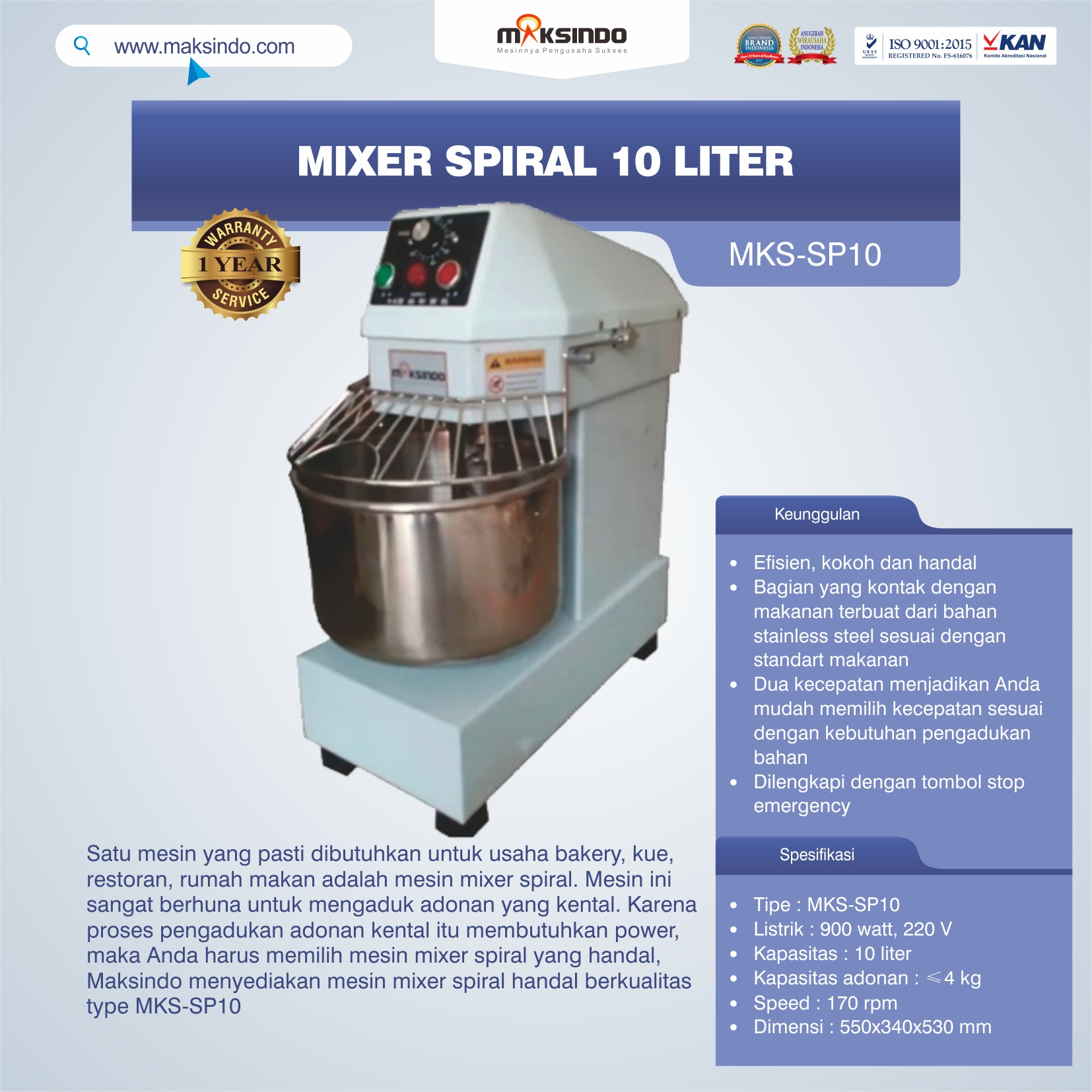 Jual Mixer Spiral 10 Liter (MKS-SP10) di Malang
