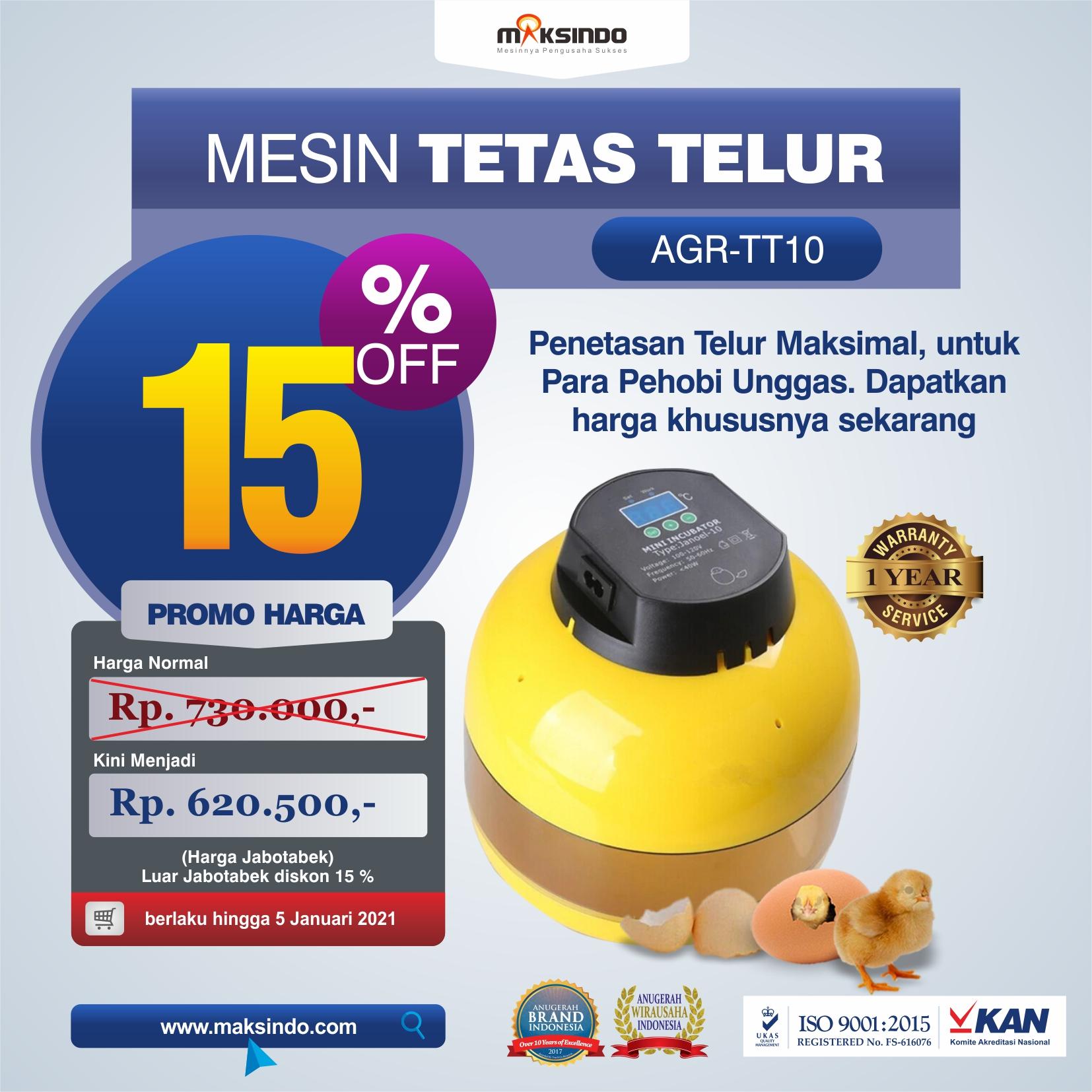 Jual Mesin Tetas Telur 10 Butir (AGR-TT-10) di Malang