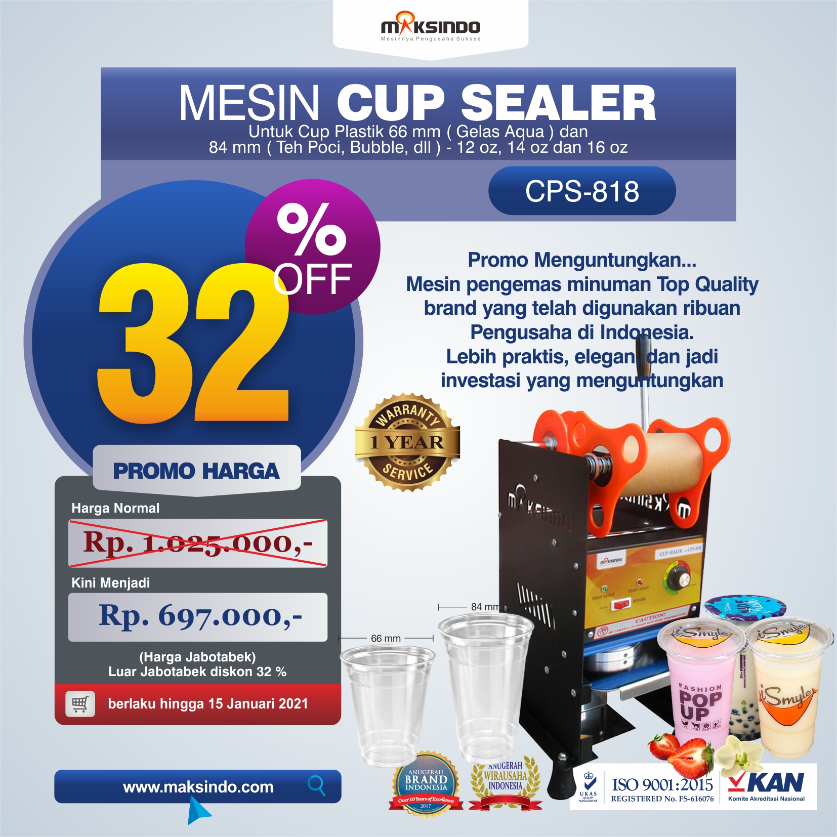 Jual Mesin Cup Sealer Manual (CPS-818) di Malang