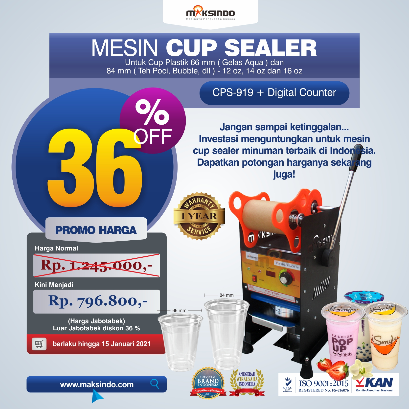 Jual Mesin Cup Sealer Manual CPS-919 di Malang